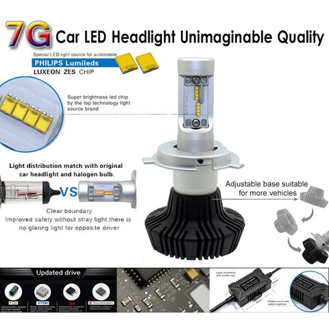 Car LED Headlamp Kit UP-7HL-H11W-4000Lm (H11, 4000 lm, cold white) Preview 2